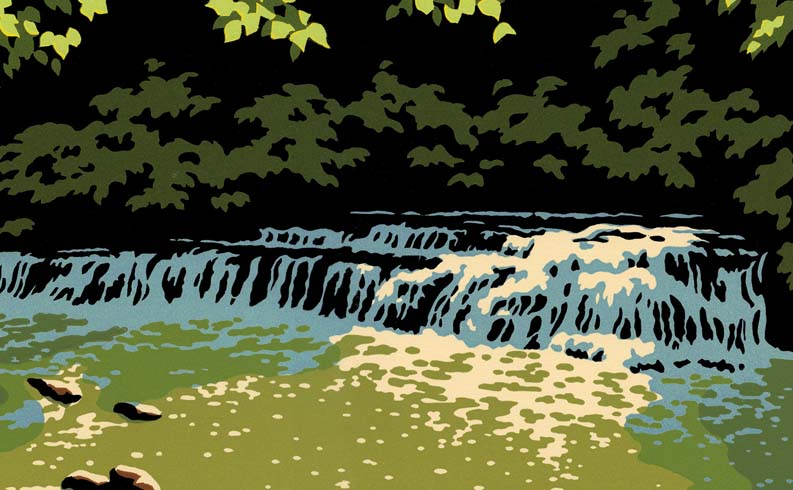 "Making ""Sunlit Stream"" block prints"