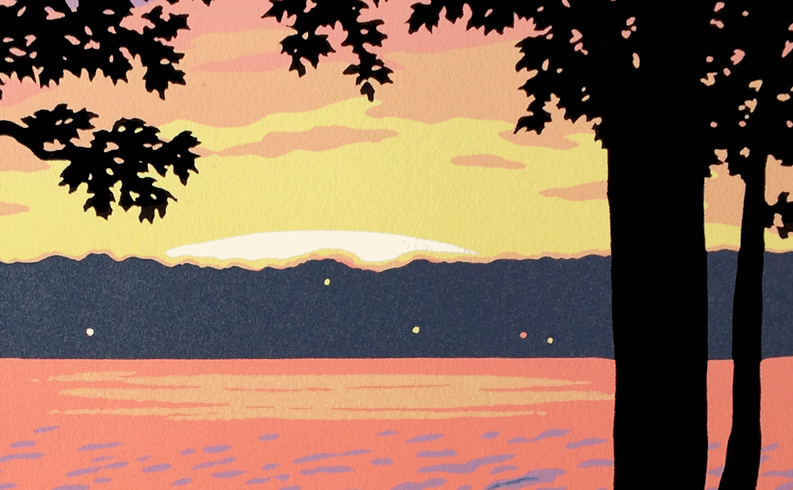 "Making the ""Lake View"" block print"