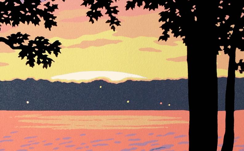 "Making the ""Lake View"" block print"